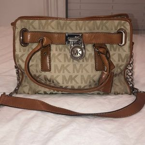 Michael Kors Tan Leather Silver Logo Hamilton Bag